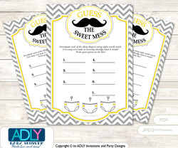 Yellow Mustache Dirty Diaper Game or Guess Sweet Mess Game for a Baby Shower Grey, Chevron