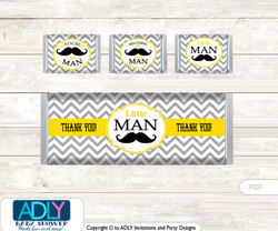 Yellow Mustache Chocolate Bar Wrapper and Nuggets Candy Wrapper Label for Baby Yellow Shower  Grey , Chevron