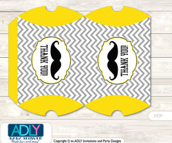 Yellow Mustache Pillow Box for Candy, Little Treats or Small Gift of any Baby Shower or Birthday, Grey , Chevron