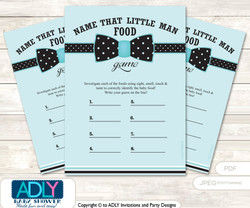 Aqua Bow Tie Guess Baby Food Game or Name That Baby Food Game for a Baby Shower, Black Polka
