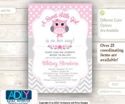 A Sweet Little Girl Owl Spring Invitation, chevron grey pink owl invitation, little owl shower, polka dots, spring, blossom shower