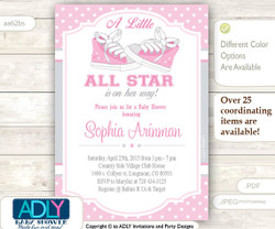 Girl Sneakers All Star Invitation for Baby Shower, Pink Grey All Star invitation, sneaker digital invite, DIY, squirt