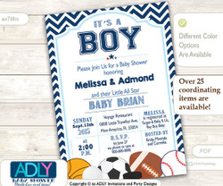 All Star Boy Invitation for Baby Shower with basketball, baseball,hockey, football, soccer,gold,sports, dark blue chevron