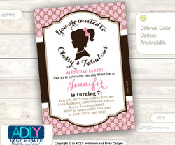 Vintage Classy and Fabulous girl bithday invitation. Pink, brown, retro invitation