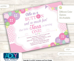 Cute as Button Firrst Birthday Invitation for a Little Girl, Cute as Button and so much fun, pink polka invitation, purple