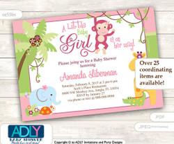 Pink Monkey Jungle Invitation for Girl baby Shower, with elephant, giraffe, crocodile, alligator and turtle invitation, lime green