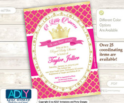 Gold Hot Pink Princess Invitation for Royal Baby Shower, gold foil, golden crown,fuschia, a Little Princess is on her way