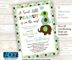 Lime Green, Brown and Sage Elephant Invitation for Gender Neutral Shower, Green, neutral shower.A sweet Little Peanut is on the way