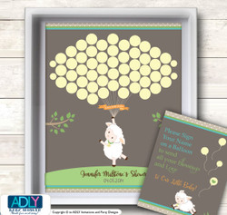 Baby Lamb Guest Book Printable Alternative for Gender Neutral Baby Shower DIY Pastel colors, Sheep - ONLY digital file