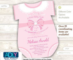 Soft Pink Onesies Girl Invitation for Baby Shower, powder pink,white lace,little girl baby shower, oneies