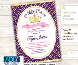 Purple, Pink, Gold Princess Invitation for Royal Baby Shower Theme, soft pink, golden crown, princess is on her way, royal shower