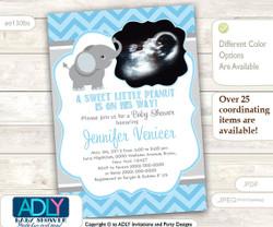 Blue Grey Boy Elephant Photo, Ulrtrasound invitation for boy baby shower. A little Peanut is on his way, chevron, gray, sonography