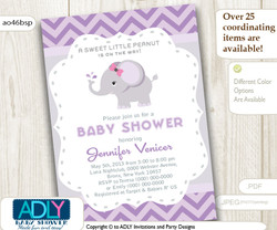 Purple Elephant Baby Shower Printable DIY party invitation for girl, chevron, lilac, gray. Instant Download