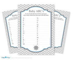 Boy Nautical Baby ABC's Game, guess Animals Printable Card for Baby Nautical  Shower DIY Navy Grey Chevron
