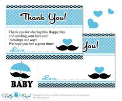 Boy Mustache Thank you Card Printable for Baby Boy Shower or Birthday DIY Blue Man , Chevron