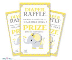 Girl Elephant Diaper Raffle Tickets Printable for Baby Girl Shower DIY Yellow Gray Chevron