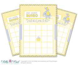 Yellow Gray Elephant Bingo Game Printable Card for Baby Boy Shower DIY grey, yellow chevron
