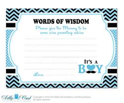 Blue Man Boy Mustache Words of Wisdom, Advice Card for Baby Shower Printable DIY for Boy, Chevron - 58bs2