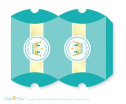 Royal Prince Candy Pillow Box Treat Printable for Baby Prince or Birthday Prince DIY Crown , Teal Gold - ao89bs21
