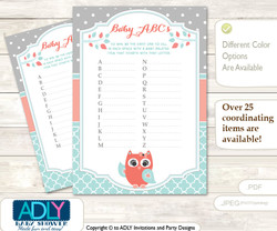 Coral Owl Baby ABC's Game, guess Animals Printable Card for Baby Owl Shower DIY –Grey