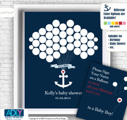 Nautical Guest book Alternative for Baby Shower with Anchor, Birthday, Briday Shower, wedding,wall decor, navy, red,green