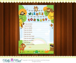 Forest/Woodland Wishes for Baby Card, Baby Shower Printable DIY party invitation with forest animals - ONLY digital file - you print