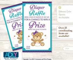 Purple Bear Diaper Raffle Printable Tickets for Baby Shower, Turquoise, Polka
