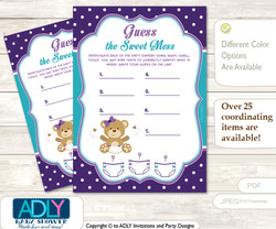 Purple Bear Dirty Diaper Game or Guess Sweet Mess Game for a Baby Shower Turquoise, Polka