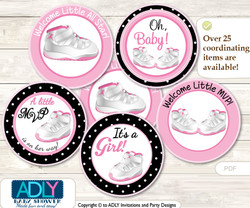 Baby Shower Girl Jumpman Cupcake Toppers Printable File for Little Girl and Mommy-to-be, favor tags, circle toppers, Sneakers, Pink Black