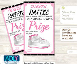 Girl Jumpman Diaper Raffle Printable Tickets for Baby Shower, Pink Black, Sneakers
