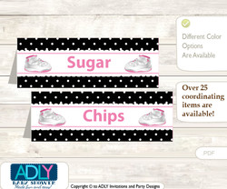 Printable Girl Jumpman Buffet Tags or Food Tent Labels  for a Baby Shower or Birthday , Pink Black, Sneakers