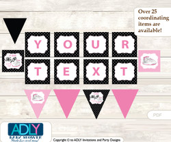 Personalized Girl Jumpman Printable Banner for Baby Shower, Pink Black, Sneakers