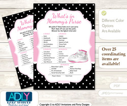 Printable Girl Jumpman Price is Right Game Card for Baby Jumpman Shower, Pink Black, Sneakers  Girl Jumpman What is in Mommy's Purse, Baby Shower Purse Game Printable Card , Pink Black,  Sneakers
