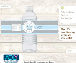Royal Prince Water Bottle Wrappers, Labels for a Prince  Baby Shower, Grey, Blue