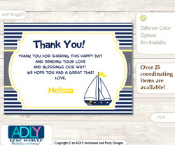 Nautical Boy Thank you Printable Card with Name Personalization for Baby Shower or Birthday Party