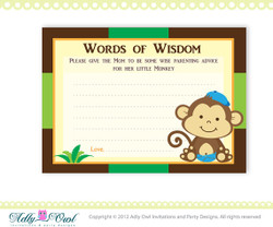 Boy Monkeys Word of Wisdom Baby Shower Advice Card Printable DIY  - ONLY digital file - you print