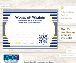 Navy Nautical Boy Words of Wisdom or an Advice Printable Card for Baby Shower, Grey