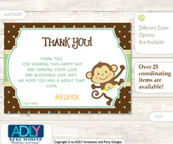 Neutral Monkey Thank you Printable Card with Name Personalization for Baby Shower or Birthday Party