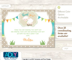 Neutral Lamb Thank you Printable Card with Name Personalization for Baby Shower or Birthday Party