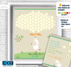 Neutral Lamb Guest Book Alternative for a Baby Shower, Creative Nursery Wall Art Gift, Polka, Beige