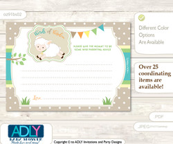Polka Neutral Lamb Words of Wisdom or an Advice Printable Card for Baby Shower, Beige