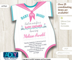 Nautical Pink Turquoise Grey Onesies Baby Shower Invitation to welcome Baby Girl. Little Girl Sailor, baby on board,teal