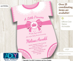 Princess Onesies Invitation for Baby Shower, pink crown,white lace,a little princess in on her way,royal baby shower, oneies