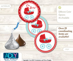 Printable  Neutral Stroller Candy Kisses for Baby Neutral Shower DIY Red Aqua , Carriage