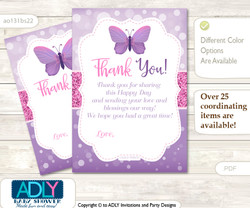 Girl  Buttefly Thank you Cards for a Baby Girl Shower or Birthday DIY Purple Pink, Bokeh