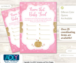 Girl Pumpkin Guess Baby Food Game or Name That Baby Food Game for a Baby Shower, Pink Gold Glitter