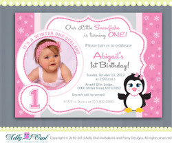 Pink Snowflake Penguin Girl Happy Birthday invitation Printable DIY for first birthday, winter birthday - ONLY digital file - ao54