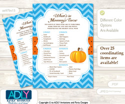 Boy Pumpkin What is in Mommy's Purse, Baby Shower Purse Game Printable Card , Blue Orange,  Chevron
