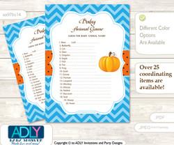 Printable Boy Pumpkin Baby Animal Game, Guess Names of Baby Animals Printable for Baby Pumpkin Shower, Blue Orange, Chevron