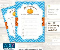 Boy Pumpkin Memory Game Card for Baby Shower, Printable Guess Card, Blue Orange, Chevron